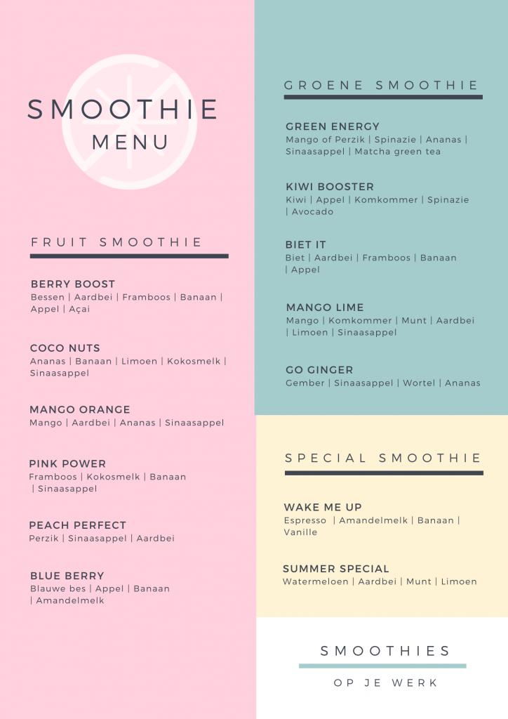 Smoothie menu | Smoothies op je werk